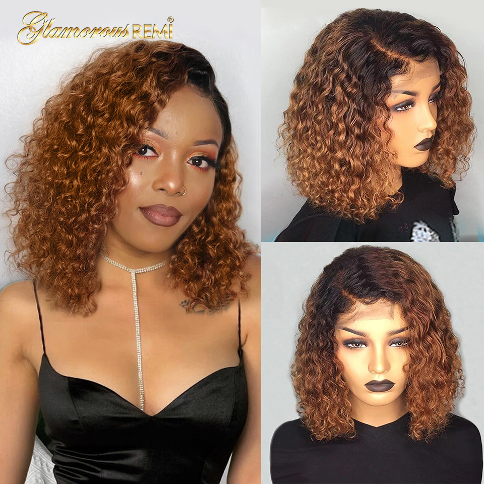 Ombre Curly Short Bob Wigs 1b/27  Curly Lace Front  Wigs With Baby Hair 4x4 Closure Wig  Density 150 1
