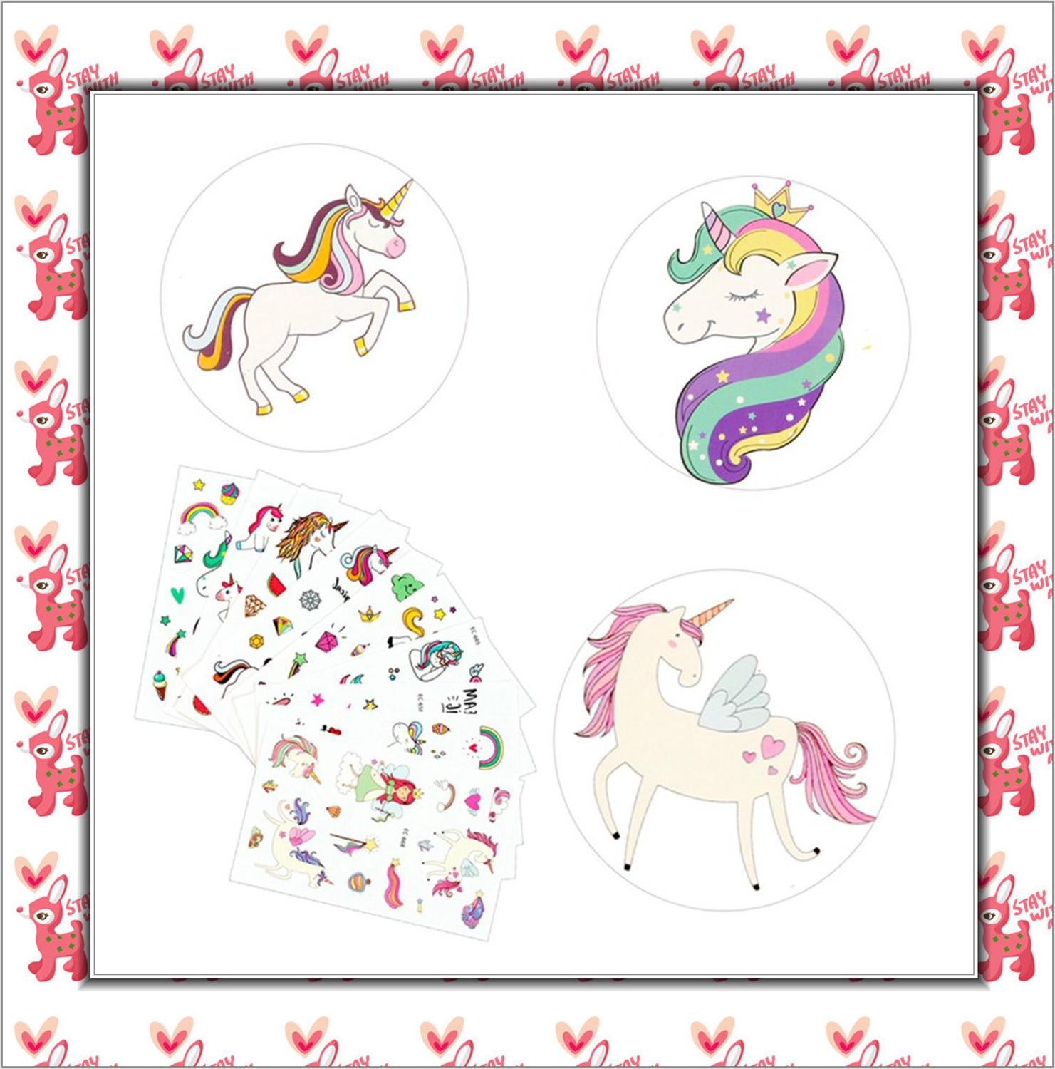 5Pcs Disposable Tattoo Sticker Unicorn Party Decoration Baby Kids Unicorn Birthday Party Favors Temporary Tattoos Supplies 1