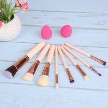 8pcs Cosmetic Pen Rose Gold Makeup Brushes+2pcs Sponge Puff Powder Blush Fondation Tool