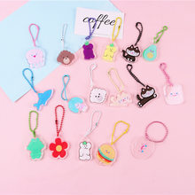 Korea Cute Cartoon Small Animal Key Chains Crystal Acrylic Keychain Airpods Protective Sleeve Pendant Pendant Tide Small Jewelry(China)