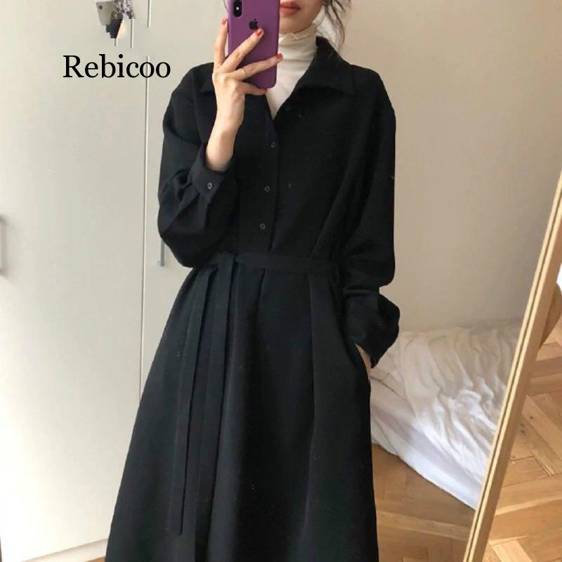 2019 Chic Hot Sale Style Women Casual Dress Turn-Down Collar Long Sleeve Solid Black Color Office Lady Dresses