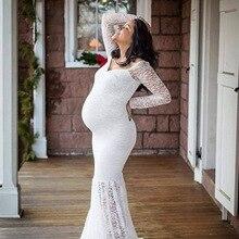 Женское кружевное платье для беременных с длинным воротником и длинным рукавом