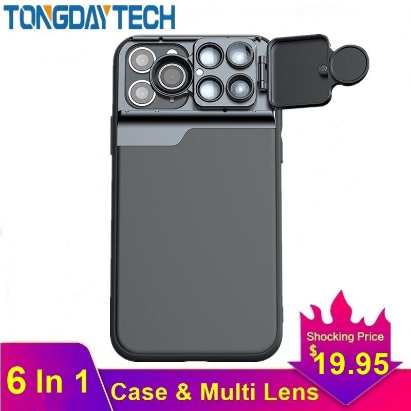 Lente de cámara Tongdaytech Para Iphone X XR XS 11 Pro MAX 6 en 1 funda de teléfono ojo de pez gran angular Macro Lente Para ojo de pez Celular