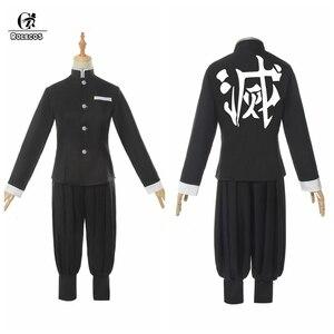 Image 3 - ROLECOS Аниме Костюм Kimetsu no Yaiba Косплей демона Slayer Agatsuma Zenitsu косплей костюм Мужчины кимоно Хэллоуин костюм