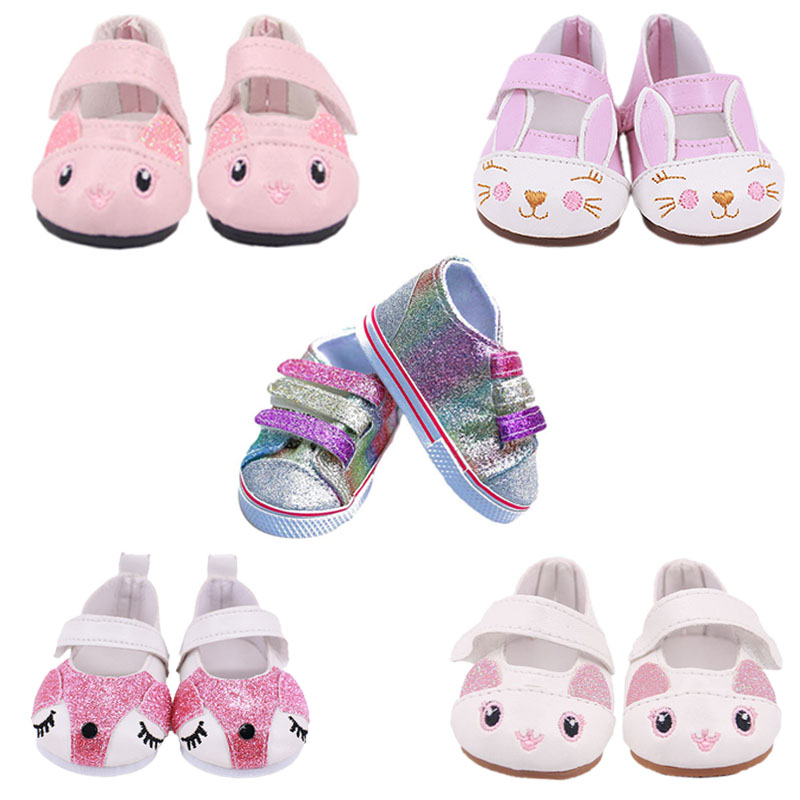 Doll Clothes Shoes 7Cm Kitty Canvas Shoes For 18 Inch American&43Cm Baby New Born Reborn Doll Generation Girl Toy 1/3 Blyth BJD