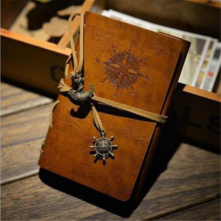 1pc NEW UPDATED NEW DELIVERY 10*15cm vintage leaf faux Leather pirate cover travel journal 5 colors notebook