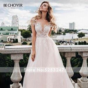 Image 3 - BECHOYER מתוקה אפליקציות חתונת שמלת עדין ורוד אשליה אונליין משפט רכבת נסיכת הכלה שמלת Vestido דה Noiva FY06