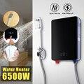 Электрический нагреватель горячей воды  мгновенный нагрев 220 В 6500 Вт  защита от перегрева  постоянная температура  с насадкой для душа