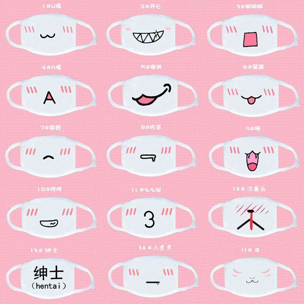 10pcs/bag Anime Mask Winter Warm Mouth Fabric Mask Dust Mask Cartoon Face Dustproof Cotton Anti Reusable Double Mouth