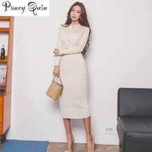 Элегантное однобортное женское платье-свитер с О-образным вырезом, длинным рукавом, поясом, стрейч, Vestidos, женское облегающее трикотажное платье до колена