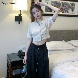 Women Shirts Summer Solid Crop Top Single Breasted Short Sleeve Elegant Korean Trendy Leisure Loose Female Blouses Tees Ins New