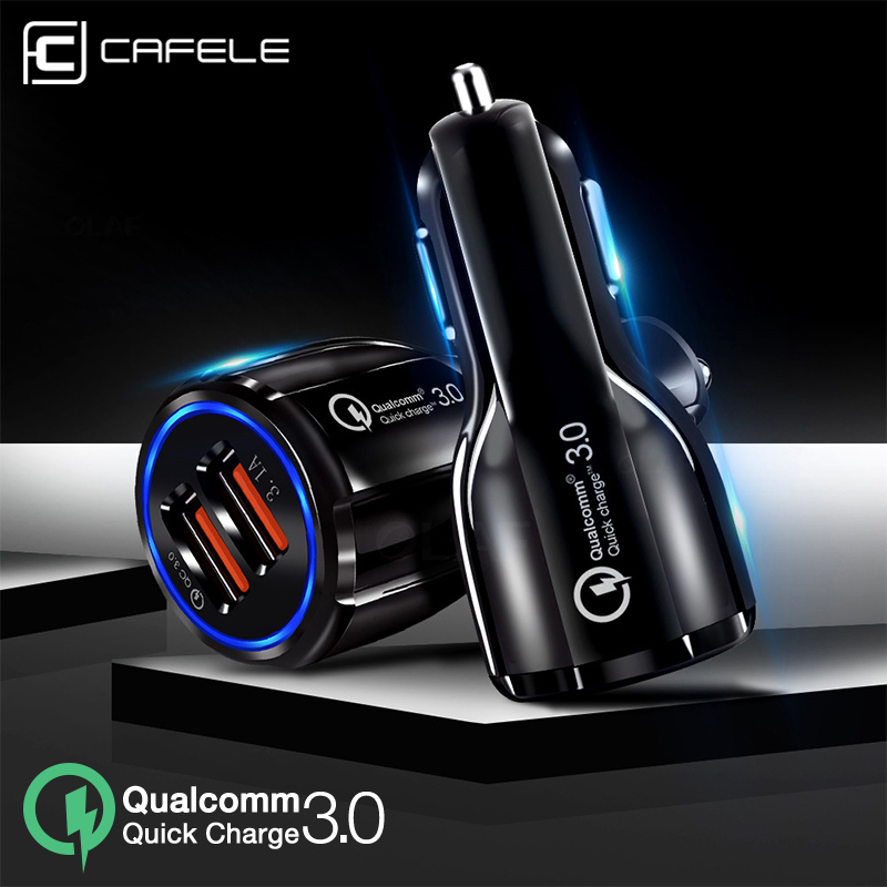 CAFELE Car Charger with Quick Charge 3.0 For iPhone X Xs Max USB Phone HUAWEI Mate 20 P30 P30Pro Samsung xiaomi