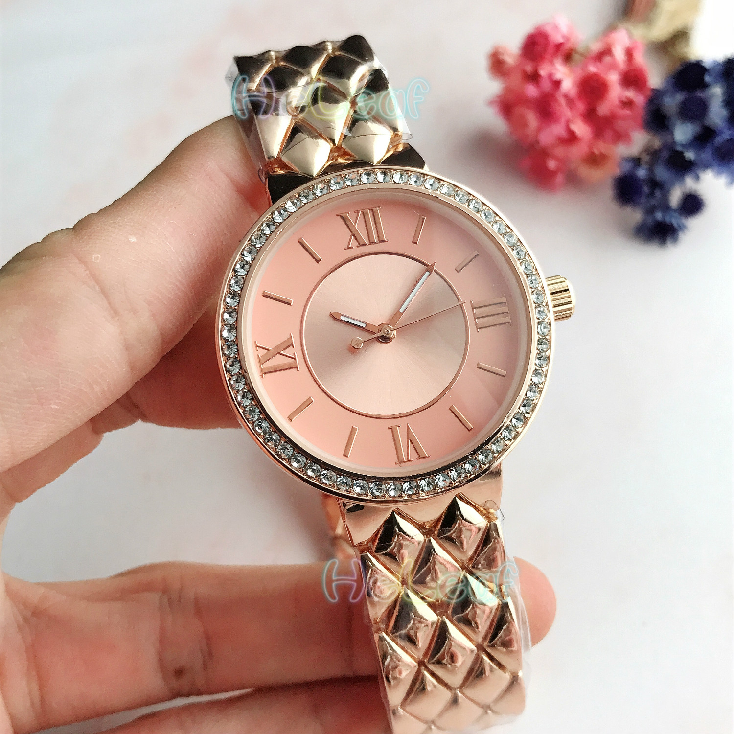 Women Watches Luxury Fashion Silver Gold Round Dial Stainless Steel Band Quartz Starry Roman Numeral Watch Female Clock Relogio