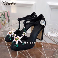 Prowow New Black Pink Crystal Beading Summer HIgh Heel Pumps Round Toe Floral Embroidery Mary Jane Pumps Shoes Women