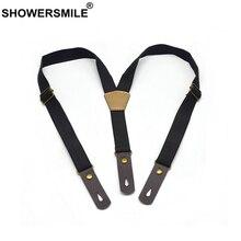 SHOWERSMILE Black Boys Suspenders Elastic Button Suspenders Kids Real Leather Children Fashion Braces 2.0cm*65cm