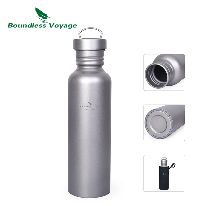 Boundless Voyage Titanium Water Bottle With Titanium Lid Outdoor Camping Cycling Hiking Tableware Drinkware 25.6oz/750ml