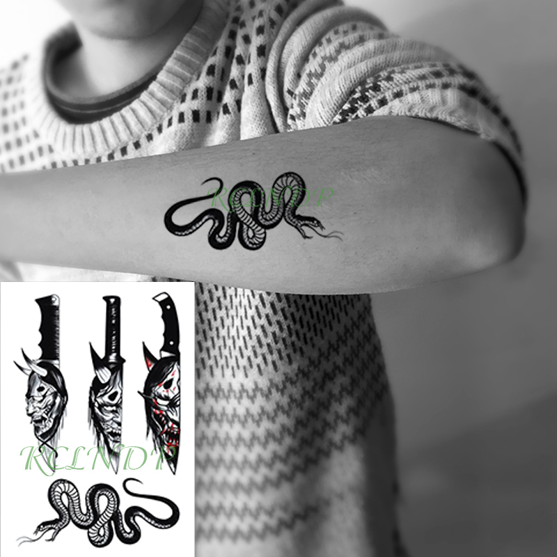 Waterproof Temporary Tattoo Sticker Prajna Pattern Knife Snake Animal Fake Tatto Flash Arm Tatoo Body Art For Girl Women Men
