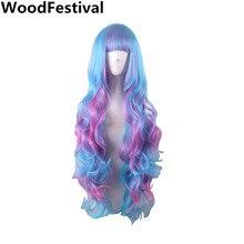 WoodFestival bayan çok renkli sentetik saç dalgalı Cosplay peruk kadınlar için isıya dayanıklı gökkuşağı uzun peruk