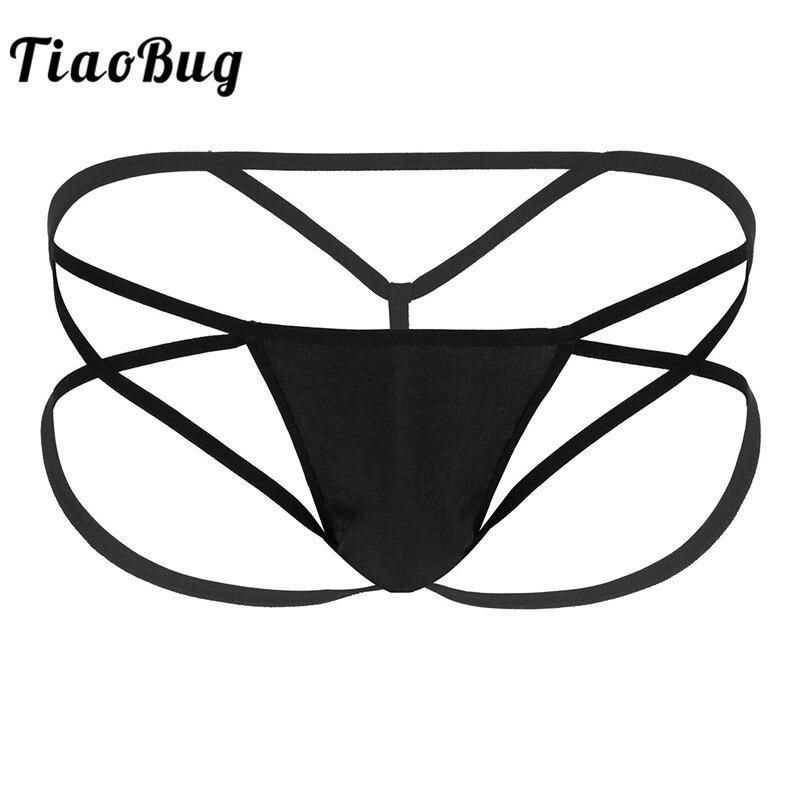 Men Black Underwear Low-rise Strappy Open Butt G-string Thongs Bikini Briefs Gay Swimwear Hot Sexy Male Underpants