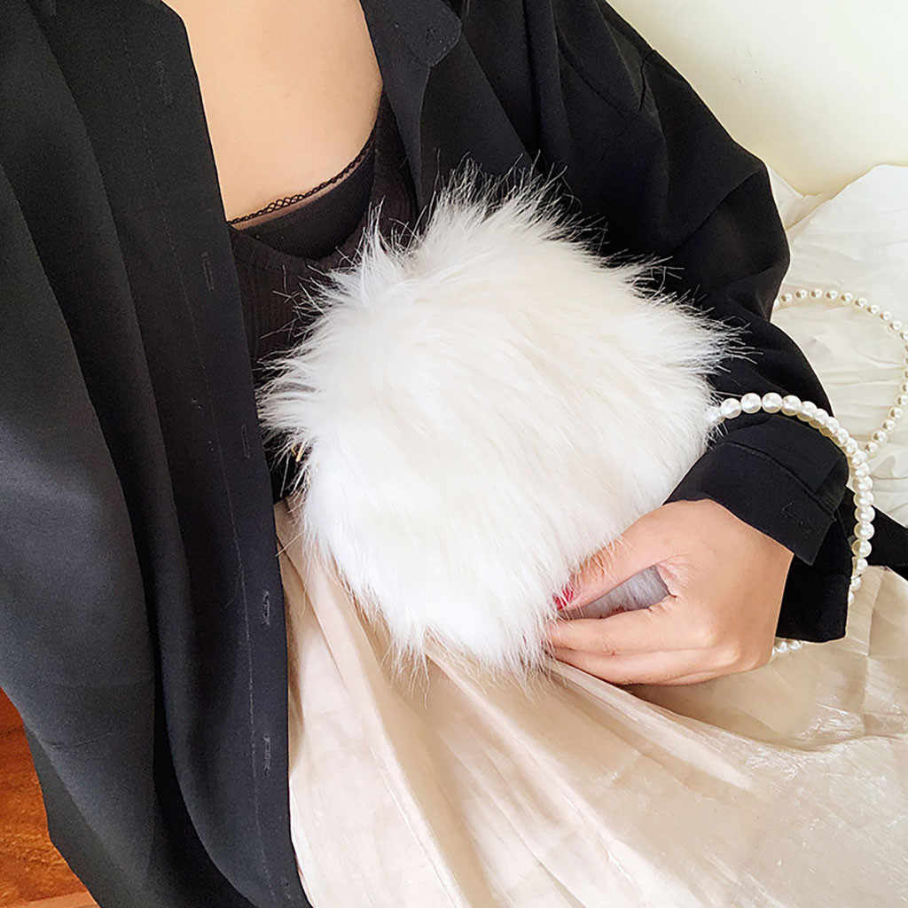 Wanita Fashion Mewah Mutiara Rantai Tas Dompet Koin Bahu Messenger Tas Kasual Mewah Musim Dingin Lucu Tas Bolso Mujer Dompet Baru 16