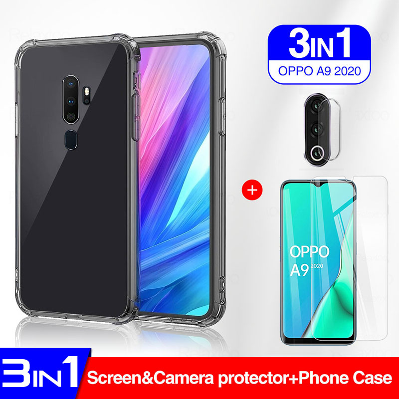 3in1 clear Airbag <font><b>phone</b></font> case + Screen Protector for <font><b>oppo</b></font> A5 A9 2020 F9 <font><b>F11</b></font> <font><b>Pro</b></font> Realme 3 5 <font><b>pro</b></font> A5s Reno 6.4 2 shell cover image