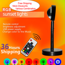 NEW Remote Control RGB Sunset Projection Lamp Rainbow Atmosphere Led Light Lamp For Home Bedroom Shop Background Wall Decoration