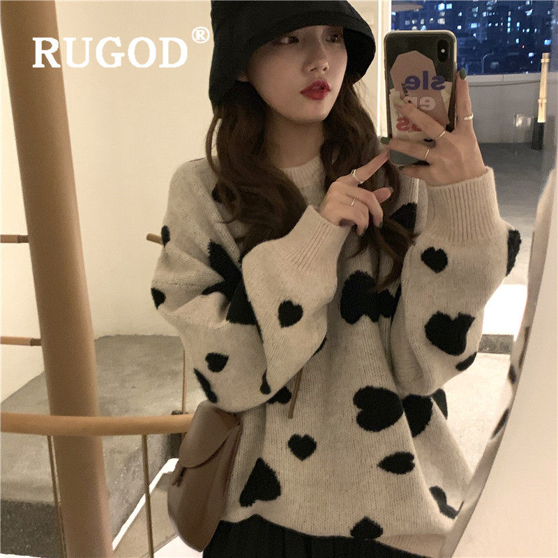 RUGOD Heart Pattern Women Sweater Pullovers O Neck Loose Thick Knitted Tops Fashion Female Sweater Pull Korean Sweet Casual