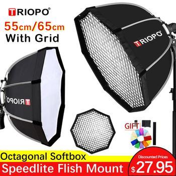 TRIOPO 55cm 65cm Octagon softbox Umbrella Softbox with Grid For Godox Yongnuo Flash speedlite photography studio accessories