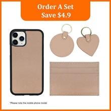 Personalizado saffiano couro presente conjunto moeda bolsa caixa de cartão venda quente chaveiro novo estilo saffiano telefone caso para iphone 11pro max