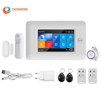 Wireless gsm wifi home alarm security system App Control with Pir Motion Sensor Door sensor RFID Card RF 433mhz smart alarm kits