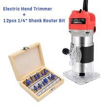 800 Вт 220 В Электрический ручной триммер для отделки дерева, гравировки, резьбы+ 12 шт 1/4 хвостовик, фреза, деревообрабатывающий набор инструментов