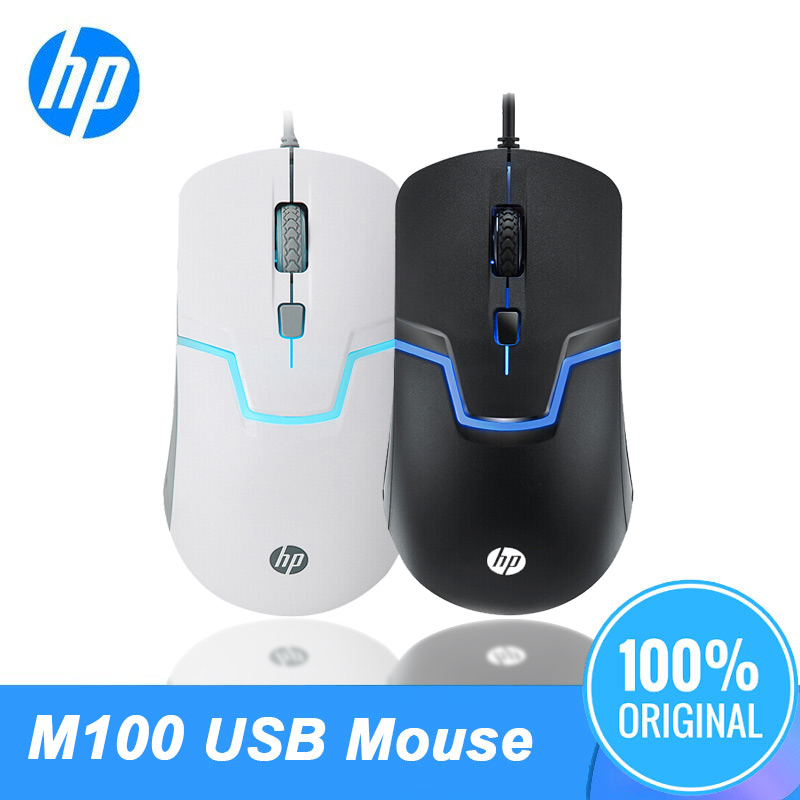 Original HP M100 1600DPI USB Mouse Wired Optical Laptop PC General Cable Back Light Gaming Black&White Color Professional Mice