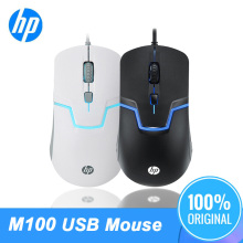 Original HP M100 1600DPI USB Mouse Wired Optical Laptop PC general cable back light gaming Black&White Color Professional Mice mc saite mc 002 800 1000dpi usb wired optical mouse black yellow 137cm cable