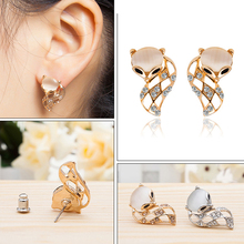 Womens Fashion Korean Cat Eye Earrings Cute Fox Animal Handmade Crystal Rhinestone Party Club Gifts