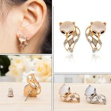 Womens Fashion Korean Cat Eye Earrings Cute Fox Animal Handmade Crystal Rhinestone Party Club Gifts
