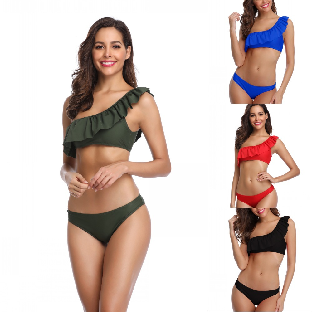 2019 AliExpress Amazon Wish New Style Bikini Swimwear Europe And America Sexy Fashion Shoulder Two-piece Swimsuits