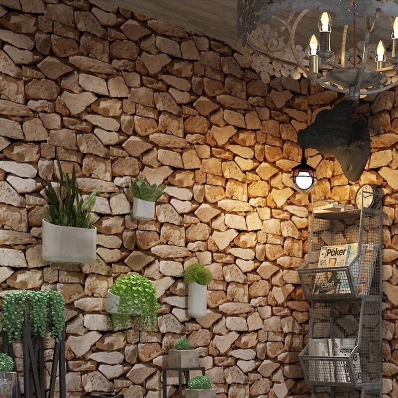 Vintage 4D pierre papier peint décoration de la maison salon chambre salle à manger fond mur vinyle 3D étanche PVC papier peint - 3