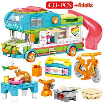 Friends Heart Lake City Beach Hut Girl RV Villa Castle House Car Building Blocks Water Park Slide Figures Bricks Toys For Girls