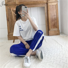 New style Printed t-shirt + Hip hop pants two-piece suit Fashion casual sports Casual ladies S-2XL