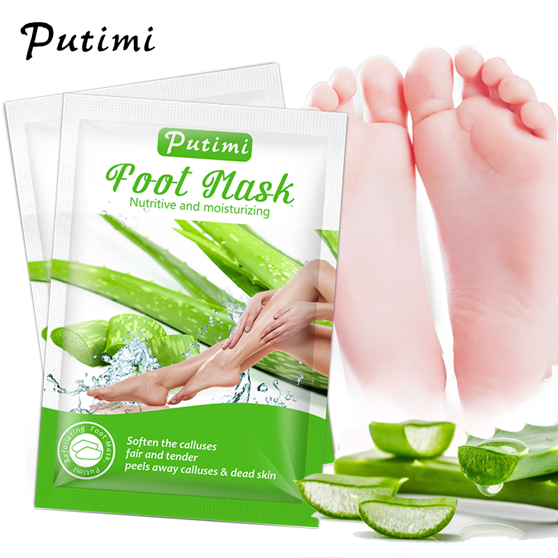 Putimi 5Packs Exfoliating Foot Mask Aloe Peel Mask for Legs Foot Care Whitening Anti Cracked Heel Peeling Mask Foot Spa Socks