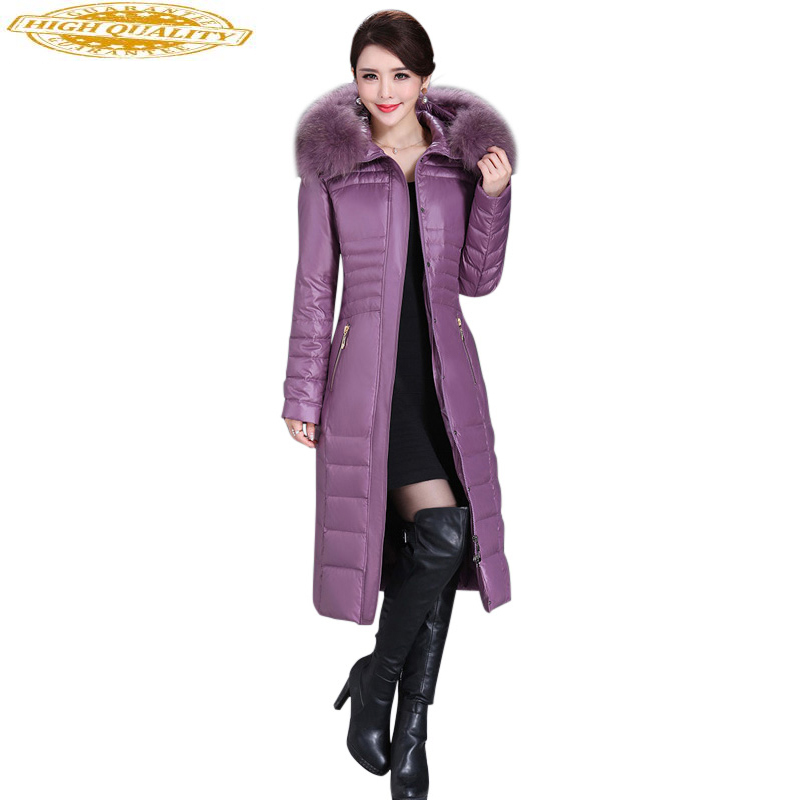 2020 Winter Duck Down Jacket Women Long Slim Coat Female Womens Down Jackets With Real Fur Collar Plus Size 5XL WYQ800
