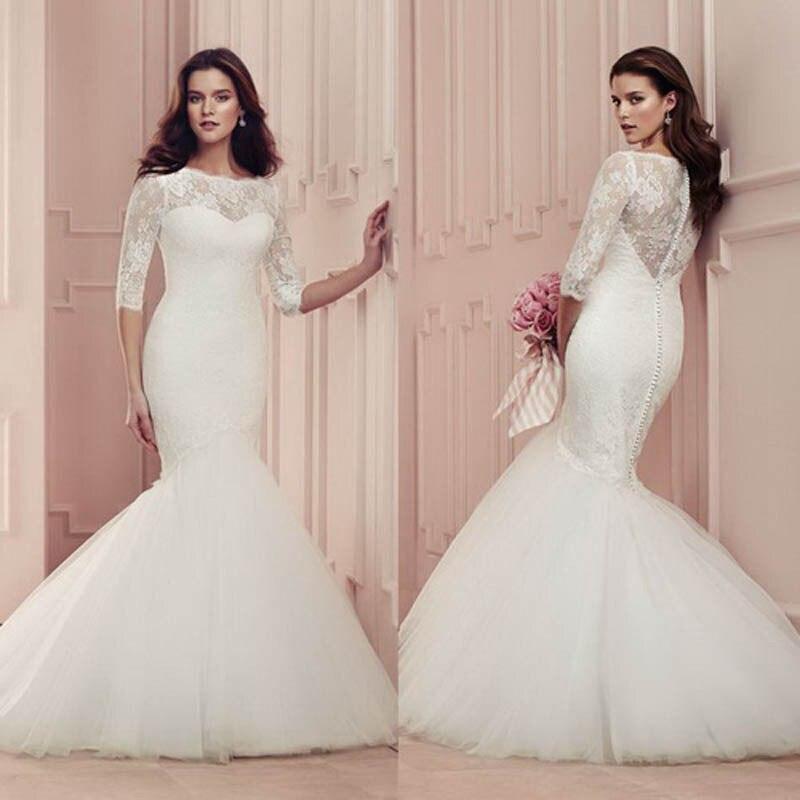 Long Lace Elegant Mermaid Bridal Gown With Sleeves 2018 Appliques Vestido De Noiva Floor Length Mother Of The Bride Dresses