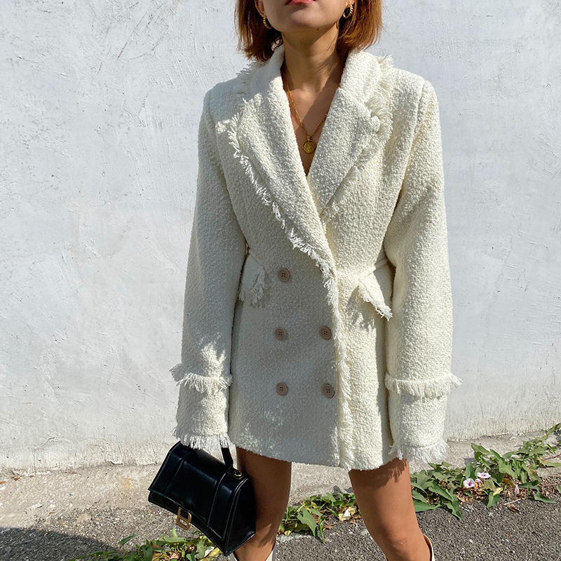 Women's Suit 2020 Spring New Style Fringed Edging Loose Woolen Shoulder Pad Coat Suit