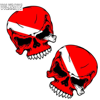 Volkrays 2 X Fashion Car Sticker  Scuba Skull Diver Down Flag Face Dive Gear Decals Accessorie PVC Decal for Vw Kia Glof,8cm*7cm