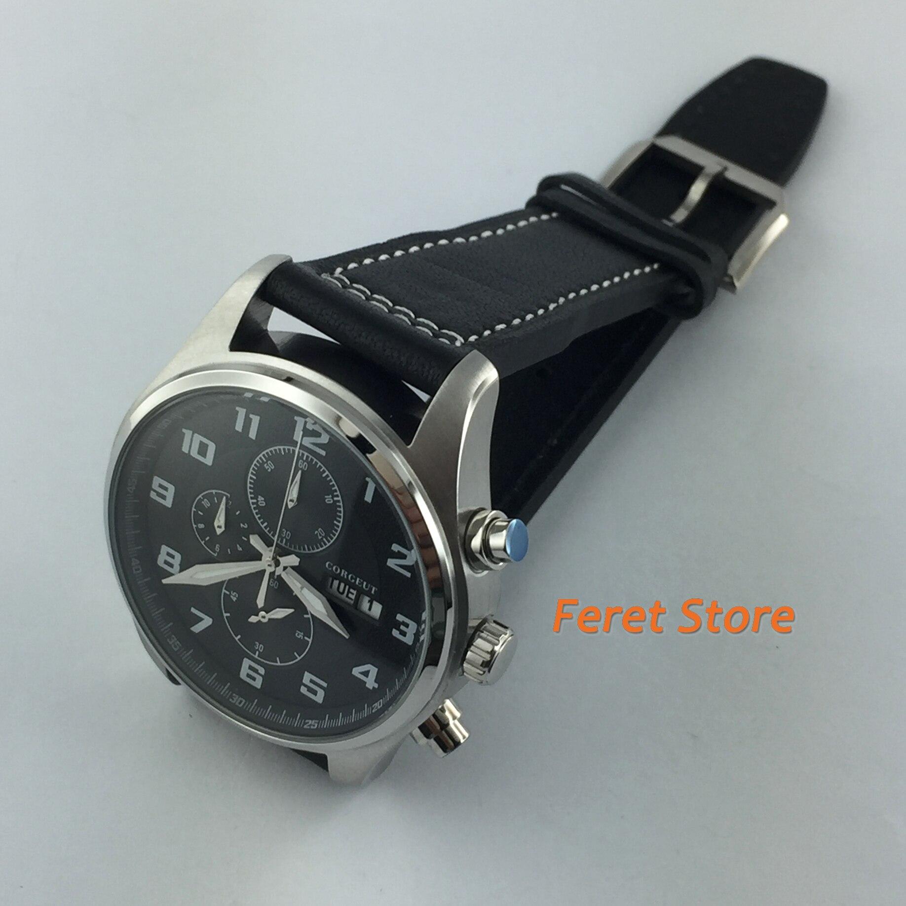 cronógrafo relógios mostrador preto relógio de pulso de quartzo relogio masculino