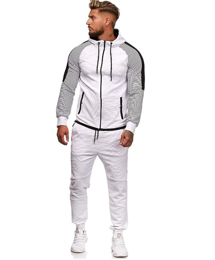 2019 Autumn And Winter New Style Large Size Men Stripes Joint Joint Leisure Suit Sports Set Men's