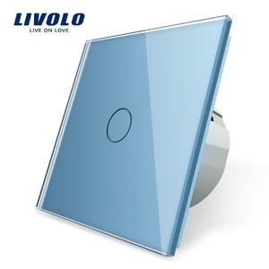 Image 1 - Livolo EU 표준 벽 조명 터치 스위치, 벽 홈 스위치, 크리스탈 유리 스위치 패널, 220 250 V, corss, 조광기, 무선, 커튼