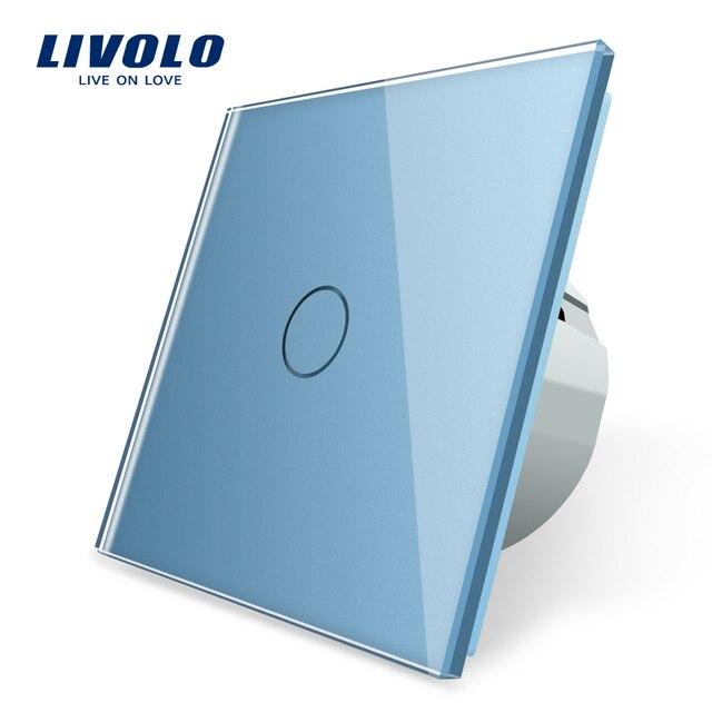 Livolo EU 표준 벽 조명 터치 스위치, 벽 홈 스위치, 크리스탈 유리 스위치 패널, 220 250 V, corss, 조광기, 무선, 커튼