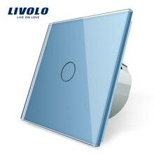 Livolo interruptor de parede, interruptor de parede, painel de vidro cristal, 220 250v, corss,dimmer, sem fio, cortina
