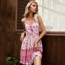 2021 New Arrival Women's Dress Casual Sexy Backless V-neck Buttons Strap Print Patchwork Elastic Waist Mini Dresses Beach Robes